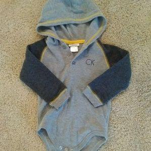 Calvin Klein hooded long sleeve onesie EUC